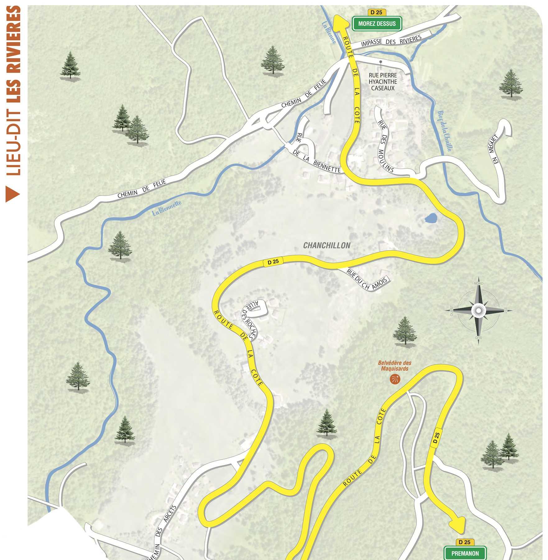 plan du village de Prémanon, Les Rivières