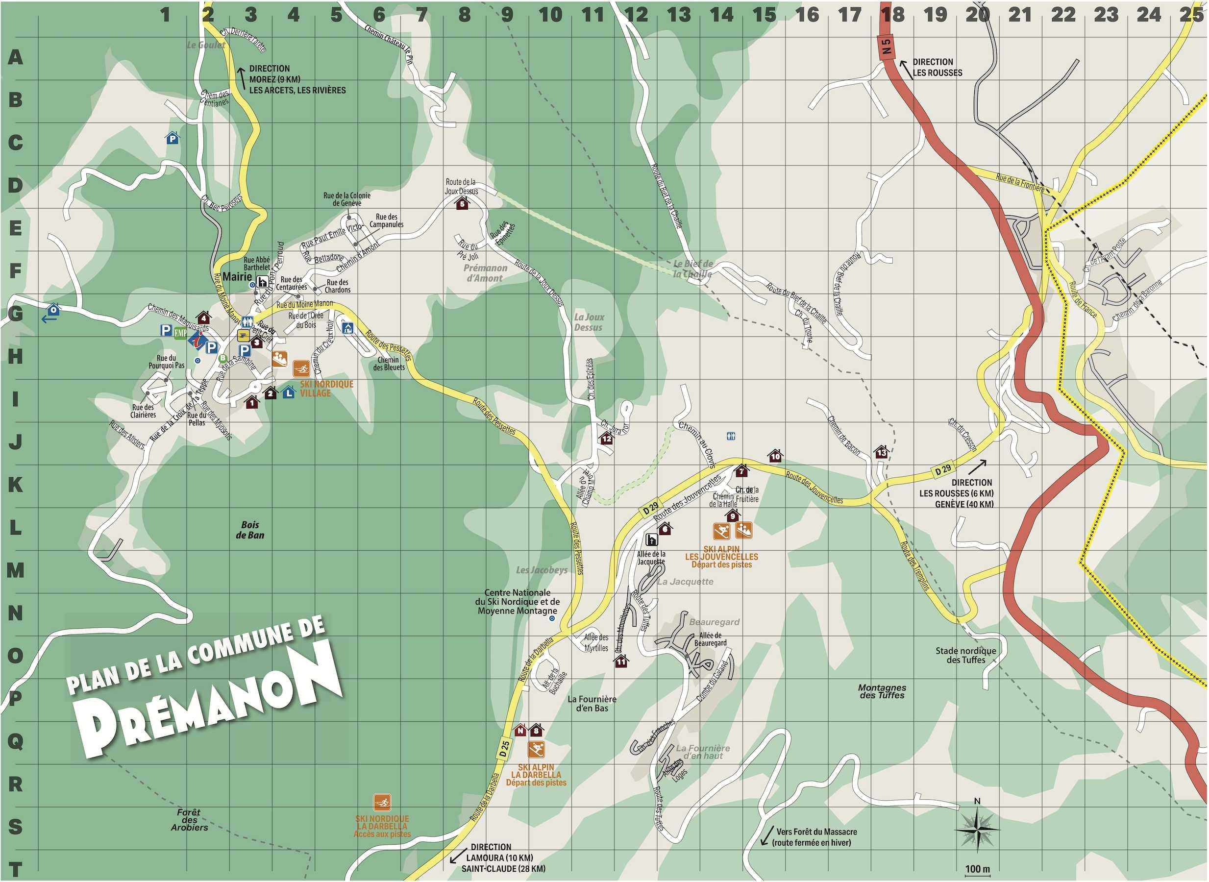 plan du village de Prémanon, centre et Jouvencelles