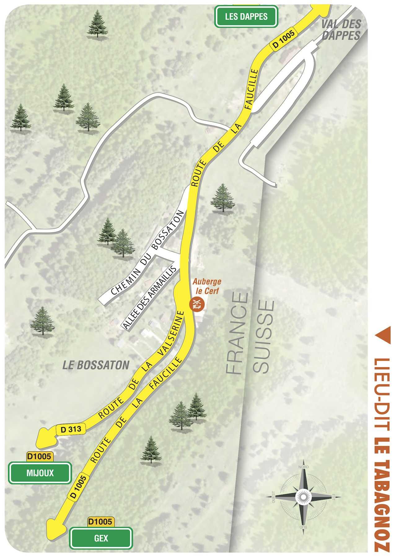 plan du village de Prémanon, le Tabagnoz